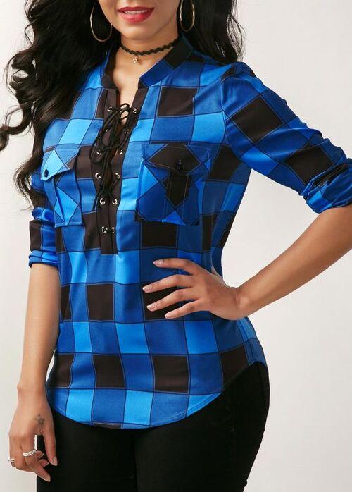 پیراهن آبی و مشکی چهارخونه