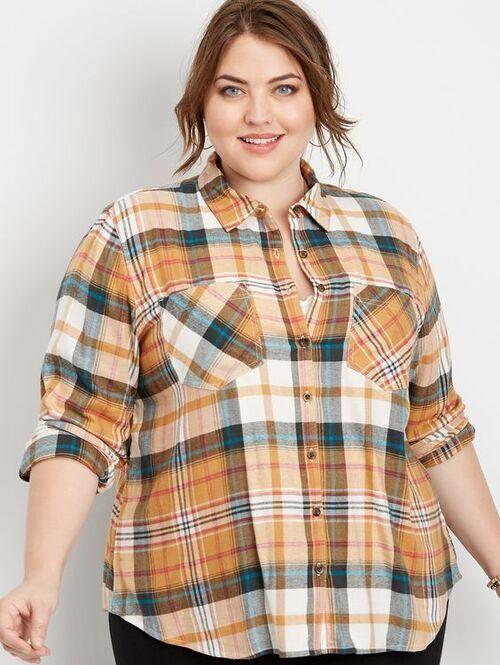پیراهن چهارخانه و سایز بزرگ زنانه